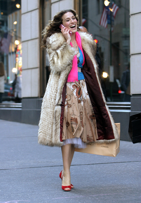 Sarah Jessica Parker during Sex and the City - Final Day of Taping - Fifth Avenue - February 4, 2004 at Fifth Avenue, Manhattan in New York City, New York, United States. (Photo by James Devaney/WireImage)